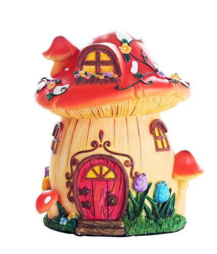 Miniature Fairy Garden of Enchantment Mushroom Fairy Toadstool Cottage Figurine Display 6.5 Inches