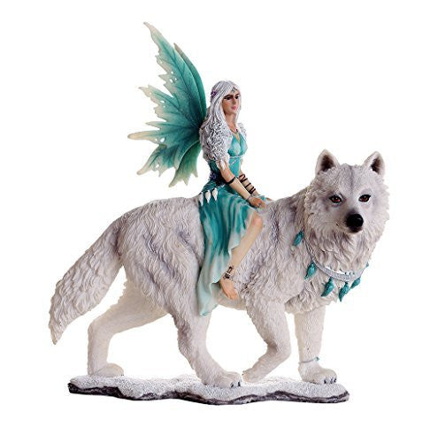 Decorative Companion Fairy Aneira with White Wolf Collectible Decorative Statue 8H