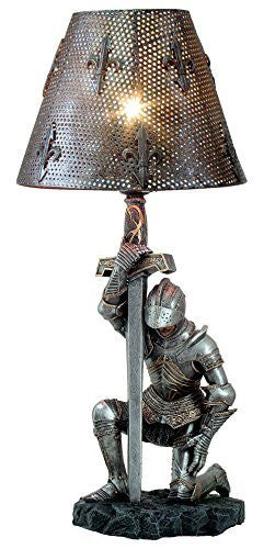 Medieval Knight of Honor Chivalry Sculptural Table Lamp 20 Inch Tall