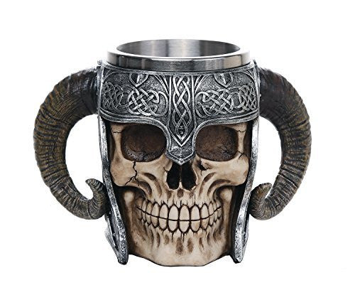 Viking Skull of Valhalla Warrior Mug Tankard 13oz