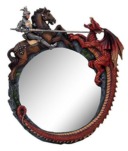 Legend of St George Slaying Dragon Wall Mirror Home Decor 12 Inch Tall