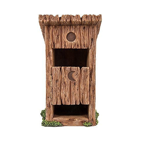 Miniature Fairy Garden Wooden Outhouse Toilet with Door Figurine Display 5.75 Inches