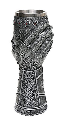 "Medieval Knight Celtic Cross Gauntlet Style Wine Goblet 9"" H"