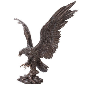 Bronzed Grand Bald Eagle Patriotic Bird Figurine Made of Polyresin