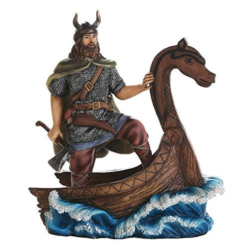 Ancient Nordic Viking Warrior on Viking Ship Collectible Figurine 8 Inch Tall