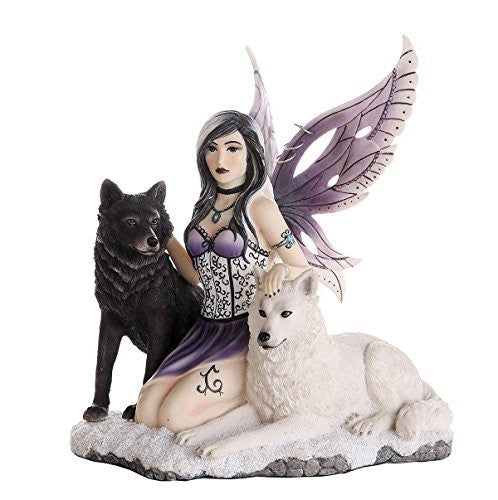 Companion Fairy Ebondy and Ivory Wolves Fairy Collectible Decorative Statue 11H