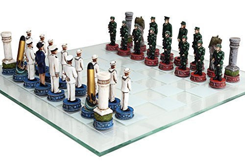 US Army vs Navy Military Chess Set Hand Painted with Glass Board