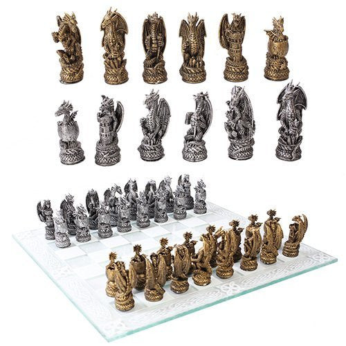 Gold Silver Dragon Kingdom Chess Set With Glass Board Set