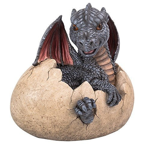 Garden Dragon Hatchling Decorative Accent Sculpture Stone Finish 10 Inch Tall