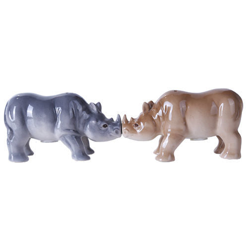 Rhino Safari Magnetic Salt Pepper Shaker Set Bud Heads Kitchen Decor