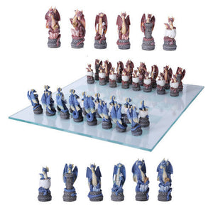 Colorful Dragon Legend Chess Set With Glass Board Blue vs Red Hatchling
