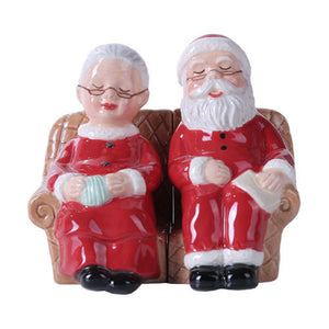 Mr and Mrs Santa Claus Magnetic Salt Pepper Shaker Christmas Xmas Relaxing Couch