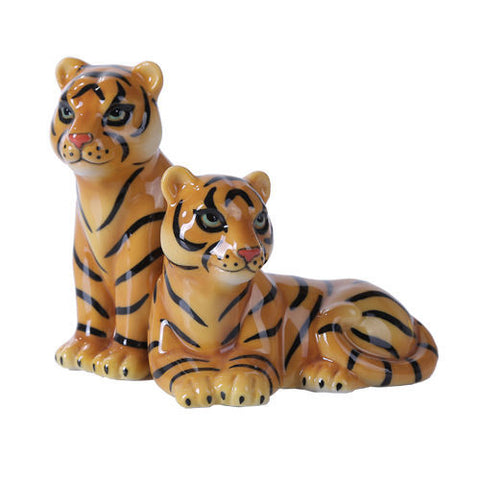Bengal Tiger and Tigress Safari Magnetic Salt and Pepper Shaker Set