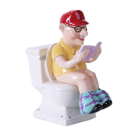 Grandpa Seating on Toilet Ceramic Magnetic Salt and Pepper Shaker Set Kitchen