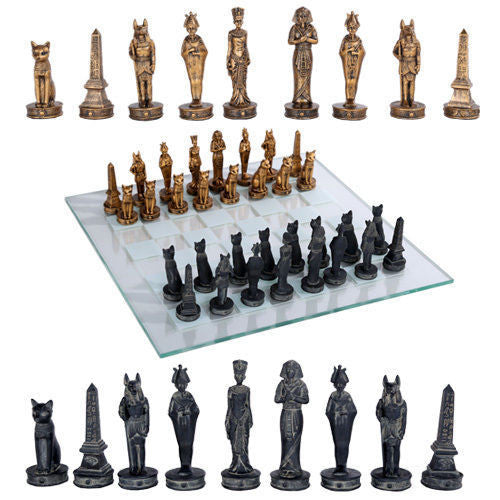 Egyptians God and Goddess Chess Set With Glass Board Black Gold