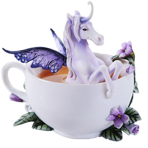 Amy Brown Enchanted Purple Unicorn Tea Coffee Cup 2016 Collection Flower Vines