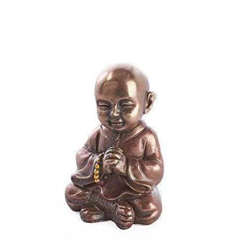 Tiny Bronze Painted Resin Monk Figurine for Gifting, Meditation, and More