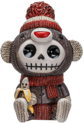 Furrybones Summit Collection Sock Munky Figurine Decorative Signature Skeleton in Stuffed Toy Sock Monkey Costume 3 Inch Tall Collectible Statue