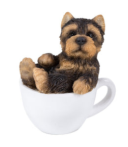 Yorkie Puppy Adorable Mini Teacup Pet Pals Puppy Collectible Figurine 3.25 Inches