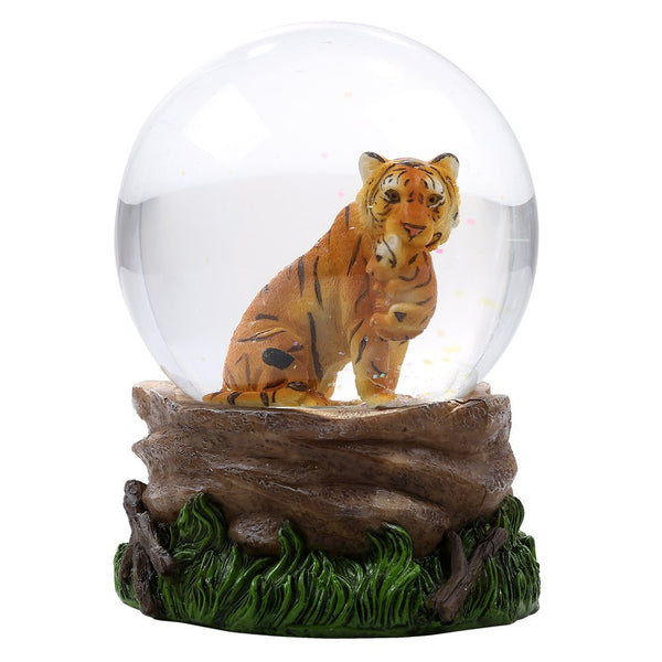 Tiger With Cub Glitter Water Globe Collectible Water Ball