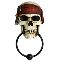 Nautical Buccaneer Pirate Skull Resin Door Knocker with Cast Iron Knocker