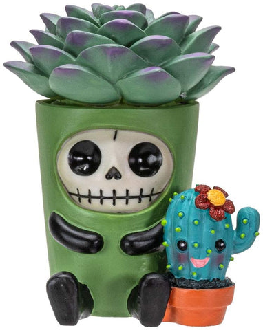 Furrybones Summit Collection Echy Figurine Decorative Signature Skeleton in Succulent Cactus Plant Costume 3 Inch Tall Collectible Statue