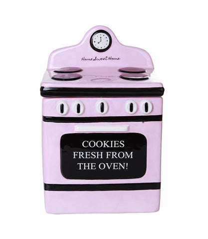 Retro Oven Freshly Baked Ceramic Cookie Jar with Air Tight Lid 8 inch Tall