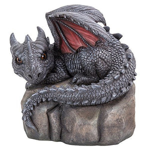 Garden Dragon Decorative Accent Sculpture Stone Finish 10 Inch Tall
