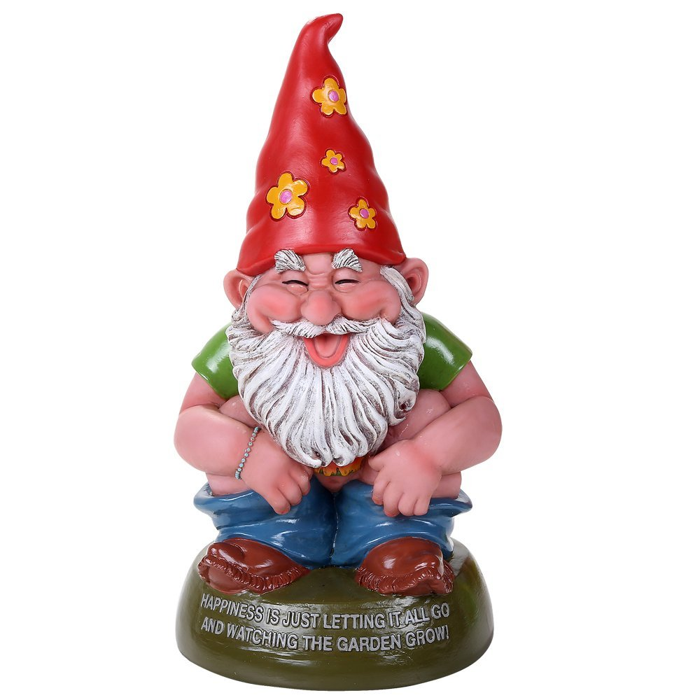 Hippie Gnome Squatting Defecating Home Grown Garden Gnome Statue