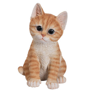 Realistic Orange Tabby Kitten Collectible Glass Eyes Hand Painted Resin Life Size 8 inch Figurine