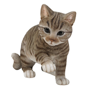 Realistic Grey Tabby Cat Kitten Collectible Figurine 10 in