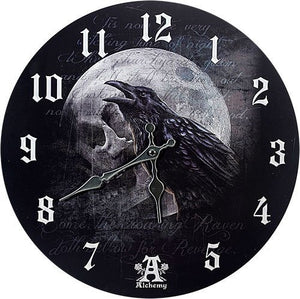 "Poe's Raven's Skull Curse Wall Clock By Alchemy Gothic Round Plate 13.5""D"