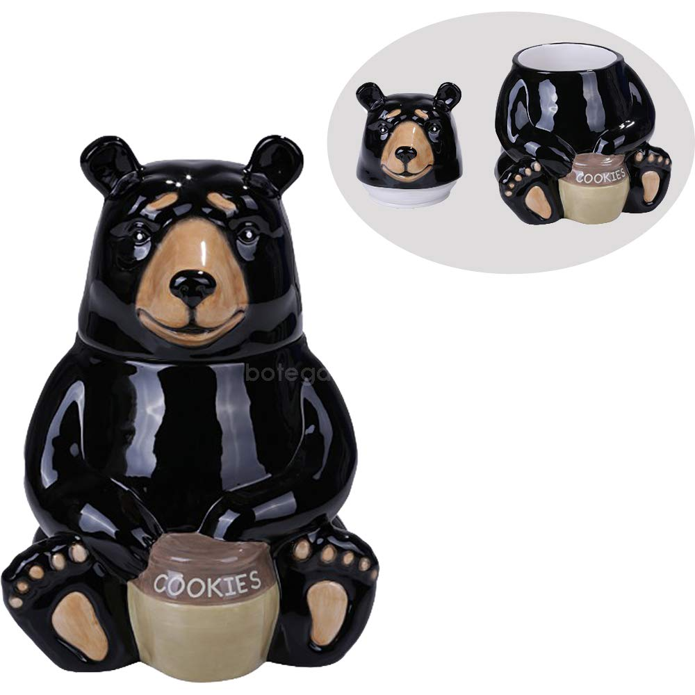 Black Bear Cookie Ceramic Cookie Jar Kitchen Decor Honey