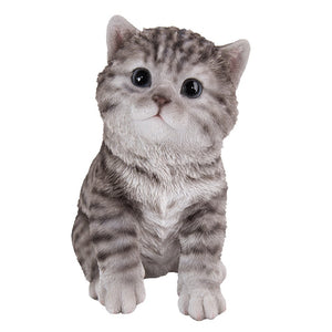 Realistic Cute Grey Tabby Kitten Collectible Figurine Amazing Detail Glass Eyes