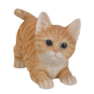 Realistic Playful Orange Tabby Kitten Collectible Glass Eyes
