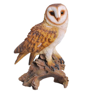 Realistic Looking Barn Owl Perched On Stump Statue Life Size Statue