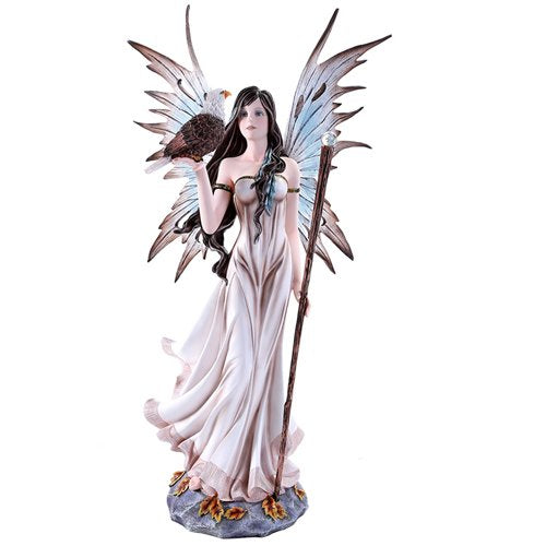 Large Beautiful Fairy with Bald Eagle Collectible Statue Figurine 21 Inch
