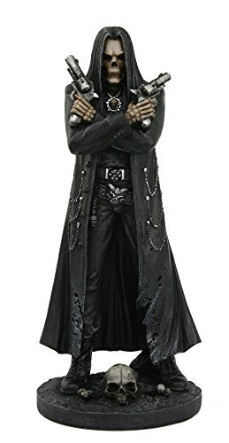 Grim Reaper Assassin With Guns Revolvers Skeleton Death Fantasy Horror Collectible Figurine 10 Inch Tall