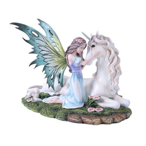Fairy Princess with Unicorn Statue Meadow Flowers Fairyland Legends Collection