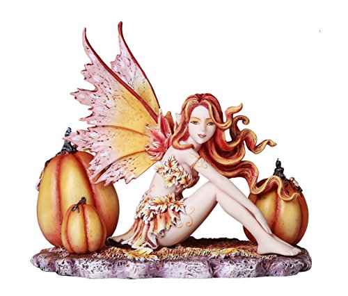 Autumn Pumpkin Fairy Fall Decorative Statue by Artist Amy Brown Tabletop Decorative Accent