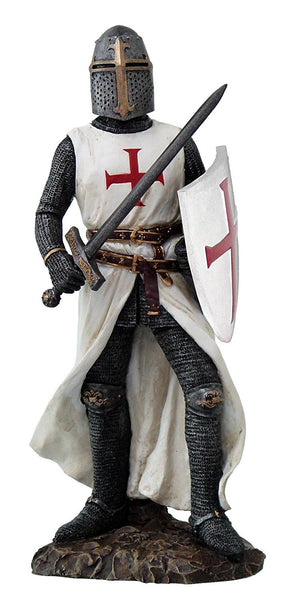 Crusader Knight in Full Shield and Sword Armor Collectible Figurine 11.5 Inch Tall