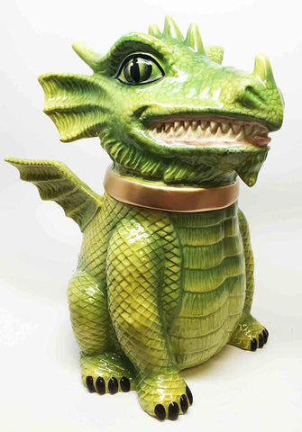 Fierce Green Dragon Cute Cookie Ceramic Cookie Jar Kitchen Decor