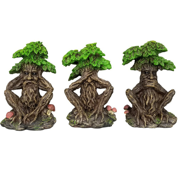 Forest Spirit See Hear Speak No Evil Wise Greenman Figurines Set of Three Whispering Forest