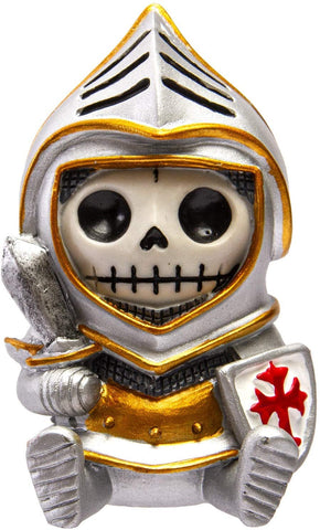 Furrybones Summit Collection Knight Sir in Shining Armor Figurine Decorative Skeleton in Medieval Knight Holding Sword and Shield 3 Inch Tall Collectible Statue