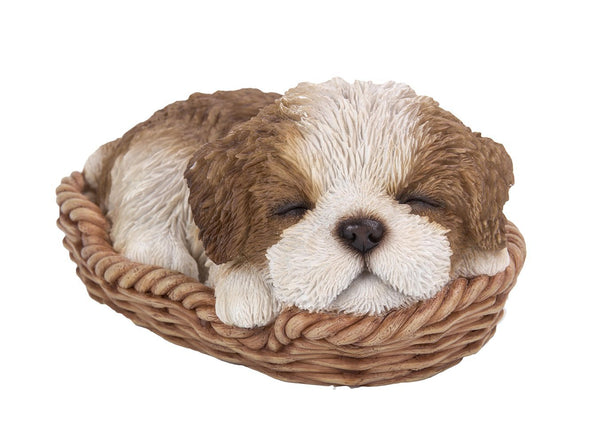 Shih Tzu Puppy in Wicker Basket Pet Pals Collectible Dog Figurine 6.5 Inches L