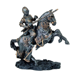 Medieval Calvary Knight on Battle Horse Ready for Jousting Gold Accent