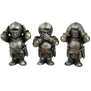 Medieval Knights See No Evil Speak No Evil Hear No Evil Funny Collectible