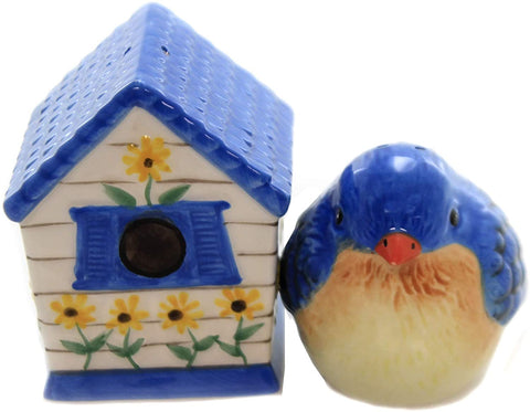 Hand Painted Ceramic Magnetic Salt and Pepper Shaker Set- Bird and Birdhouse