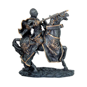 Medieval Calvary Knight on Battle Horse Ready for Jousting Pewter Gray