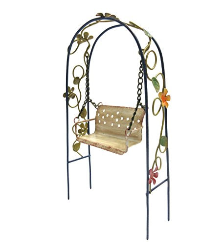Enchanted Garden Decorative Metal Arbor Swing Mini Fairy Garden Decorative Accessory 8 inch Tall